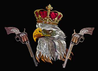 Embroidery eagle head, guns and crown. Symbol of romanticism and crime. Template for clothes, textiles, t-shirt design