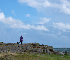 woman with purple jacket and a gray dog looking out over the ocean a windy day.