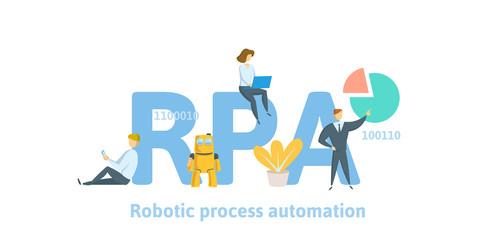 RPA, Robotic process automatisation. Concept with keywords, letters and icons. Colored flat vector illustration on white background.