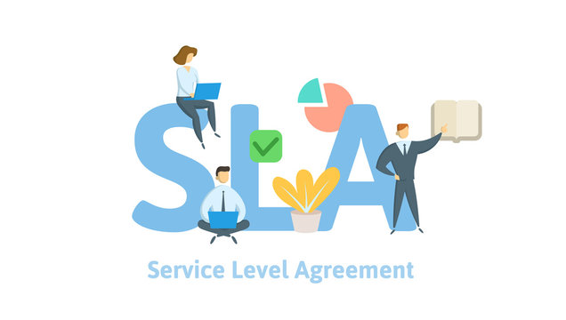 SLA, Service Level Agreement. Concept with keywords, letters and icons. Colored flat vector illustration on white background.