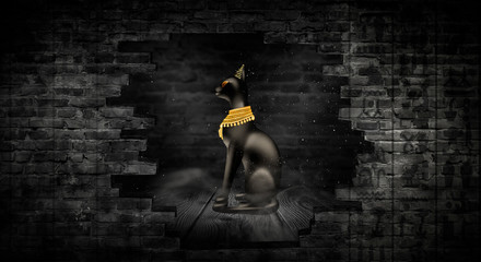 Egyptian asbstract background, goddess of Egypt Bastet, abstract neon bokeh background, rays