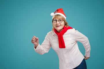 Christmas woman on background
