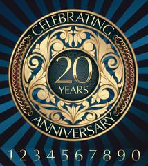 20 years anniversary decorative golden emblem