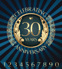 30 years anniversary decorative golden emblem