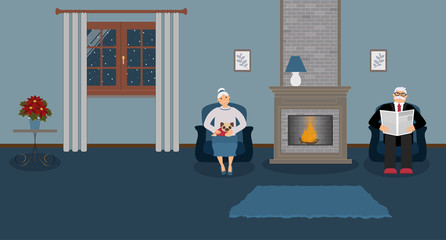 A couple of elderly people are sitting by the fireplace in a beautiful cozy blue living room. Woman with cute little pug on his knees, a man in a suit is reading a newspaper. Vector illustration