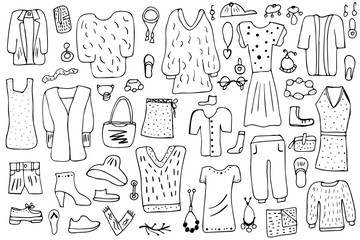Woman clothes and accessories set in doodle style.