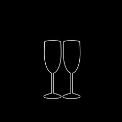 Vector white outline icon of couple champagne glasses on black background.