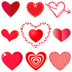Vector collection of hearts on white background.