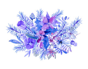 Winter floral watercolor Christmas greeting card with tree branches, holly, flowers and berries.