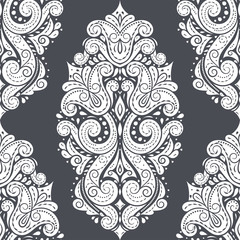 Beautiful black and white floral seamless pattern. Vintage vector, paisley elements. Traditional, Turkish, Indian motifs. Great for fabric and textile, wallpaper, packaging or any desired idea.