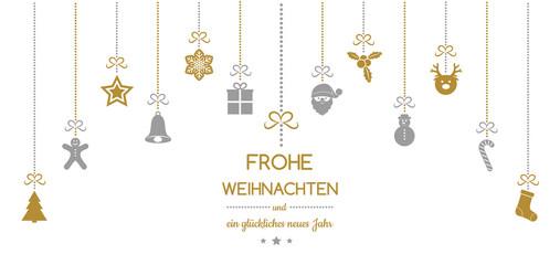 Frohe Weihnachten und Gluckliches Neues Jahr - german Christmas wishes. Vector.