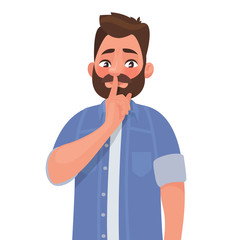 Shh! Gesture is quieter. The concept of male secret. A man asks for silence. Vector illustration