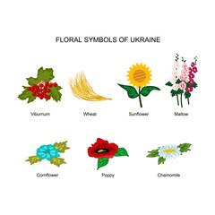 Floral folk symbols of Ukraine. Set of vector illustrations