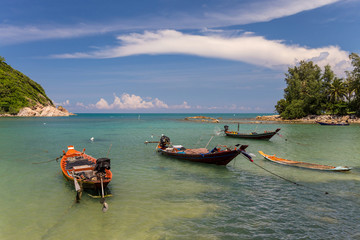 Traditional thai long boats in the sea