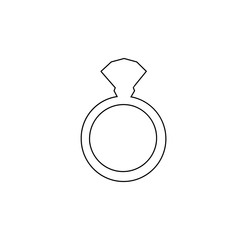 Vector black outline silhouette of ring with diamond on white background.