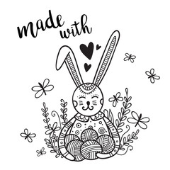 Vector card knitting theme with cute bunny and lettering