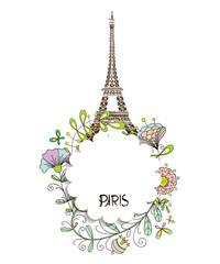 Paris, Eiffel Tower with a floral design