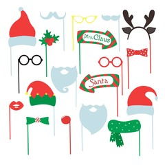 Set of piece photo booth props for Merry Christmas and Happy New Year. Vector illustration.
