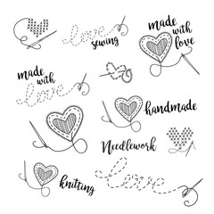 Vector lettering logo set, sewing, embroidery theme with heart.