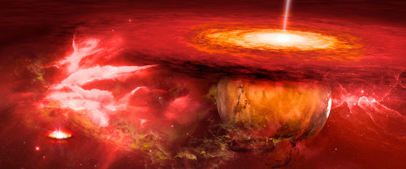Fototapete - red planet in the nebula that is struck by lightning, illustration