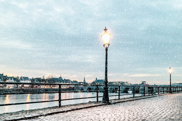 Winter view of the east side of the Dutch river Maas in Maastricht