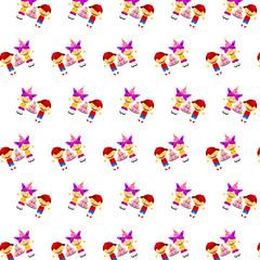 Little boy & girl - sticker pattern 15