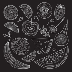 Vector set of nutrient-rich raw fruits in boho style