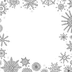 Vector christmas banner in ethnic boho style with ornaments.
