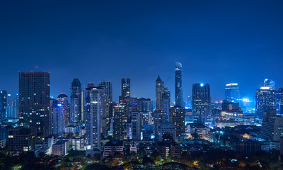 Cityscape night panorama view of Bangkok modern office business building and high skyscraper in business district at Bangkok,Thailand.