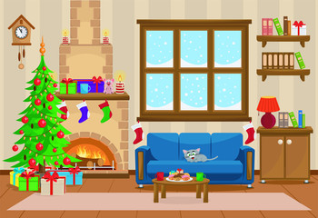 Vector illustration of Christmas living room with Christmas tree, gifts, sofa, table with treats and snow-covered window.