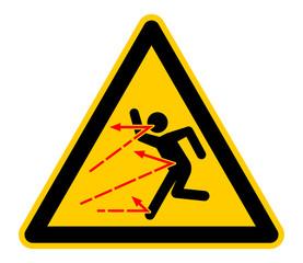 wso411 WarnSchildOrange - german - Warnung vor umherfliegenden Gegenständen - Halten Sie Zuschauer fern - english - warning to avoid injury from thrown objects (arrows) machine - safety sign - g6847