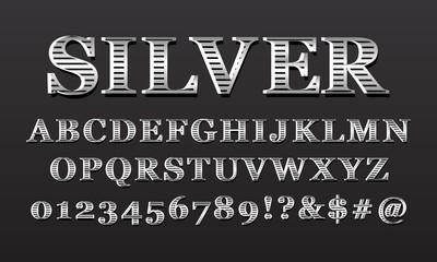 Set of vintage elegant metal alphabet font