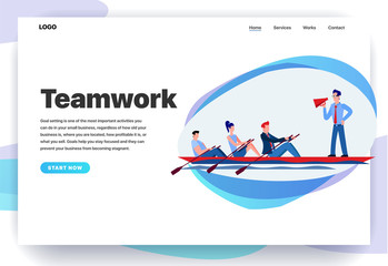 Web page design templates for teamwork, solid team, dream team, common task, productive team. Office staff sailing in a boat. Modern vector illustration concepts for website and mobile website