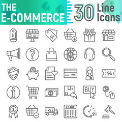 E-commerce line icon set, shopping symbols collection, vector sketches, logo illustrations, buy signs linear pictograms package isolated on white background.