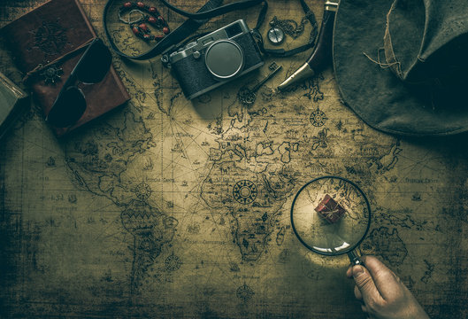 old map and vintage travel equipment / expedition concept or treasure hunt.