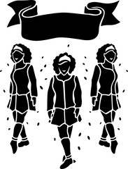 Black and white art with irish dancers silhouettes