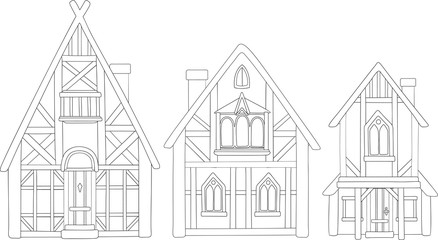 Line art with isolated european medieval houses