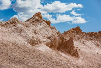 Valle de la Luna, in the Atacama desert panorama in Chile with sand covered areas