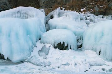 Ice on rock Siberia Russia in winter season natural landscape background