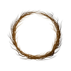 wreath of branches on the white background,