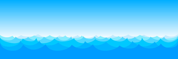 Waves seamless pattern vector. Ocean sea water blue – stock vector