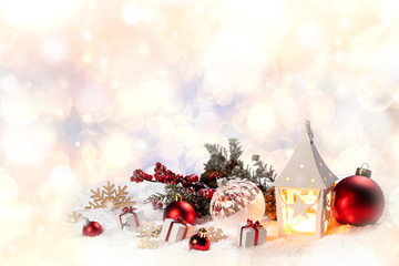 Christmas decor in snow