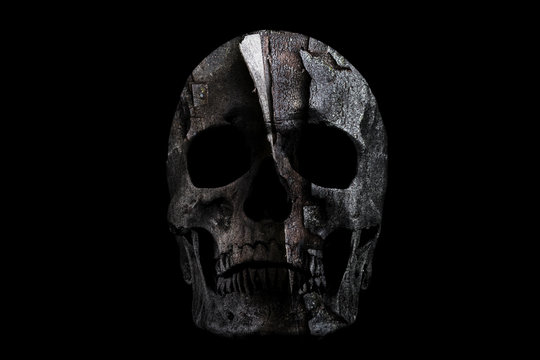 Broken wall in the skull isolated on a black background
