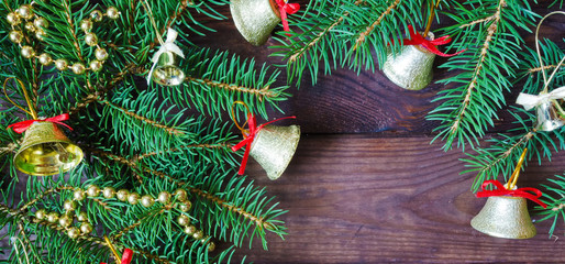 Christmas decor festive background, flat lay top view