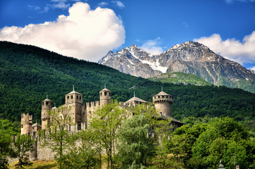 Fenis castle is a Medieval castle with a fascinating architecture and amazing courtyard