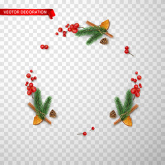 Christmas and New Year holiday decoration on transparent background.