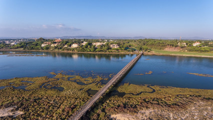 Aerial. View from the sky to the bay in Ria Formosa. Quinta de Lago.