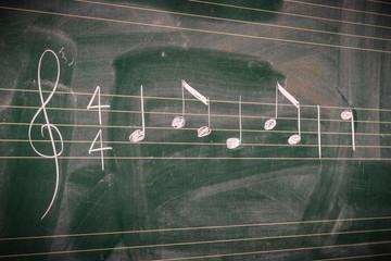 Random music notes written with white chalk on a blackboard.