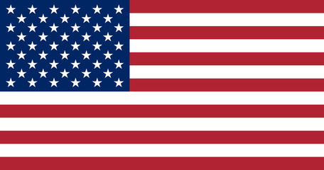 Illustration of the flag of the United States of America. USA flag in the most accurate proportions, sizes and colors. Independence Day.