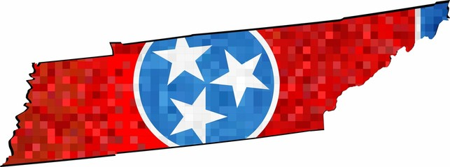 Grunge Tennessee map with flag inside - Illustration, 